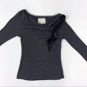 DELETTA Knit Ruffle Top Black/White Drape Neck Med